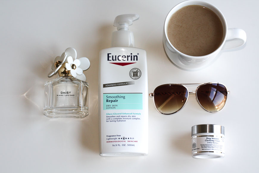 Eucerin Body Lotion, Coffee, Aviator Sunglasses, Kiehls Face Lotion, Daisy by Marc Jacobs perfume.